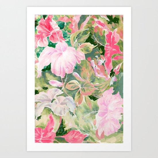 hibiscus tropical watercolor Art Print