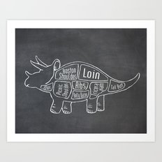 Triceratops Dinosaur (A.K.A Three Horn Face) Butcher Meat Diagram Art Print