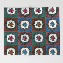 Peranakan Tiles (Textured Multi) Throw Blanket