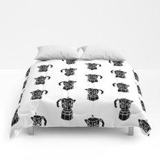 Moka Coffee Pot coffee lover black and white minimal modern kitchen linocut art Comforters