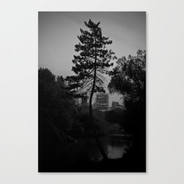 I live in a city sorrow built Canvas Print