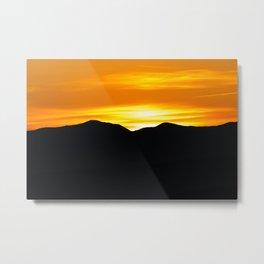 Rising sun over black mountains Metal Print