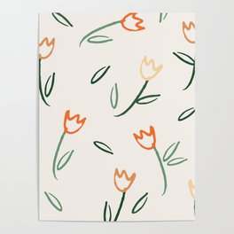 Scattered Tulips Poster