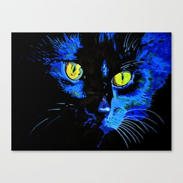 Marley The Cat Portrait With Striking Yellow Eyes Canvas Print