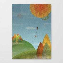 Balloons over the hills Canvas Print