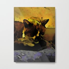 Brown Cat and a Yellow Wall Metal Print