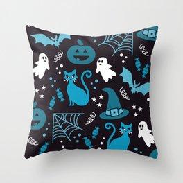 Halloween party illustrations blue, black Throw Pillow