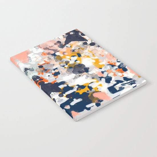 Stella - Abstract painting in modern fresh colors navy, orange, pink, cream, white, and gold Notebook