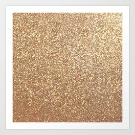 Copper Rose Gold Metallic Glitter Art Print