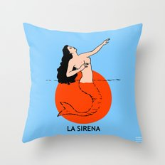 La Sirena Loteria - Mexican Bingo Card Throw Pillow