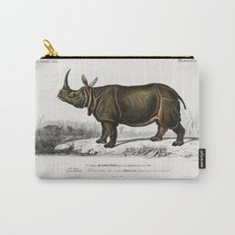 Indian rhinoceros (Rhinoceros unicornis) illustrated by Charles Dessalines D Orbigny (1806-1876) Carry-All Pouch