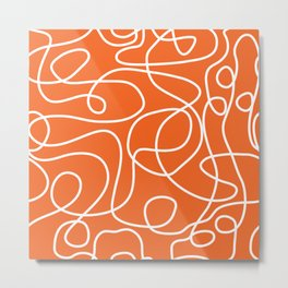 Doodle Line Art | White Lines on Persimmon Orange Metal Print