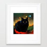 black cat Framed Art Prints featuring black cat by ururuty