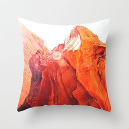 texture of the orange rock and stone at Antelope Canyon, USA Throw Pillow