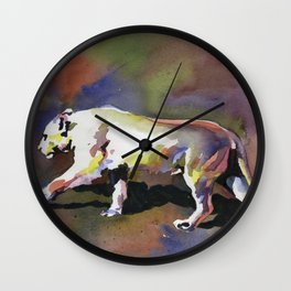 Painting of mountain lion walking across ground.  Mountain lion watercolor painting Wall Clock