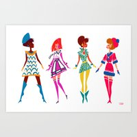 60s Art Prints featuring 60s MOD by Meganfisherdraws