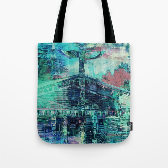 Totem Cabin Abstract - Teal Tote Bag