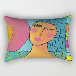 Woman at Sunset Abstract Painting  Rectangular Pillow