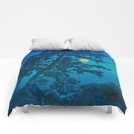 Vintage Japanese Woodblock Print Kawase Hasui Haunting Tree Silhouette At Night Moonlight Comforters