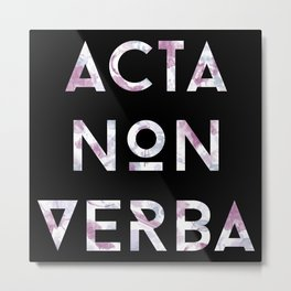 Acta Non Verba - Purple on Black Metal Print
