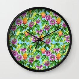 Passiflora vines light blue Wall Clock
