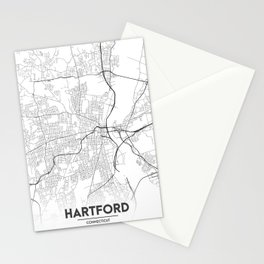 Minimal City Maps - Map Of Hartford, Connecticut, United States Stationery Cards