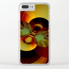 Brown and Gold Circles Geometric Abstract Clear iPhone Case