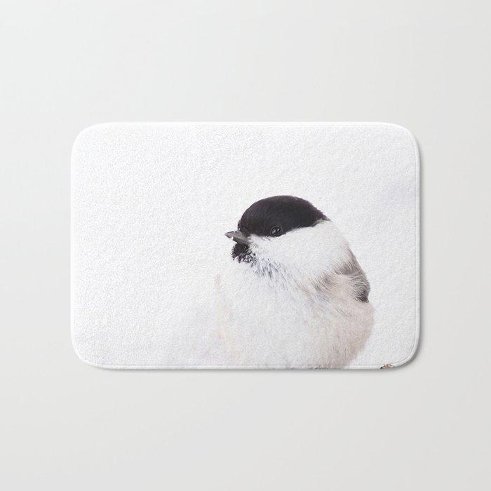 Cute Willow Tit sitting in the snow #decor #buyart #society6 Bath Mat