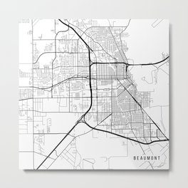 Beaumont Map, USA - Black and White Metal Print