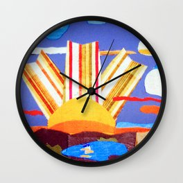 Fabric Sunset Landscape Collage Wall Clock
