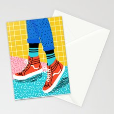 Toe Drag - memphis throwback fashion shoes retro pattern grid pink bright neon hipster Stationery Cards