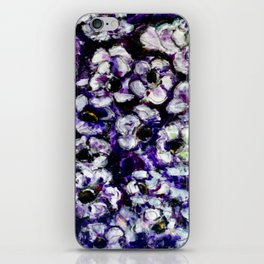 White Flowers on Purple Background iPhone Skin