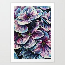 purple flowers watercolor art Art Print