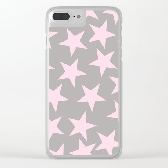Pink stars on grey background on #Society6 Clear iPhone Case