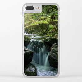 Flowing Creek, Green Mossy Rocks, Forest Nature Photography Clear iPhone Case