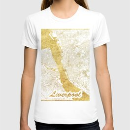 Liverpool Map Gold T-shirt