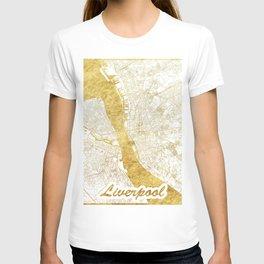 Liverpool Map Gold T-shirt