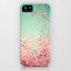 Blue Autumn, Pink leafs on blue, turquoise, green, aqua sky iPhone (5, 5s) Slim Case