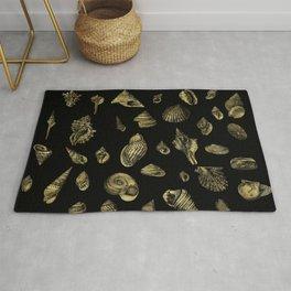 Sea shells pattern gold on black 1 Rug