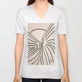Study of a Man Walking Into the Sun Unisex V-Neck