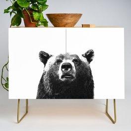 Black and white bear portrait Credenza