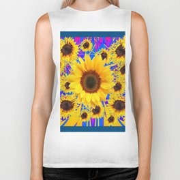 FUCHSIA TEAL COLOR & SUNFLOWERS  MODERN ART Biker Tank