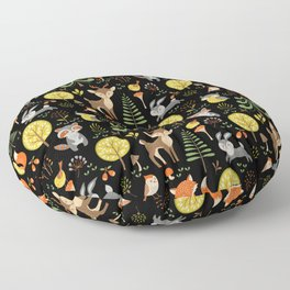 Cute Colorful Wood Animals In Forest Floor Pillow