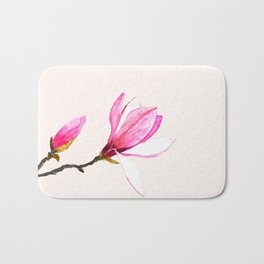 magnolia watercolor painting Bath Mat