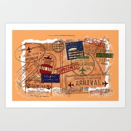 Entry Approved - Passport Stamps Art Print
