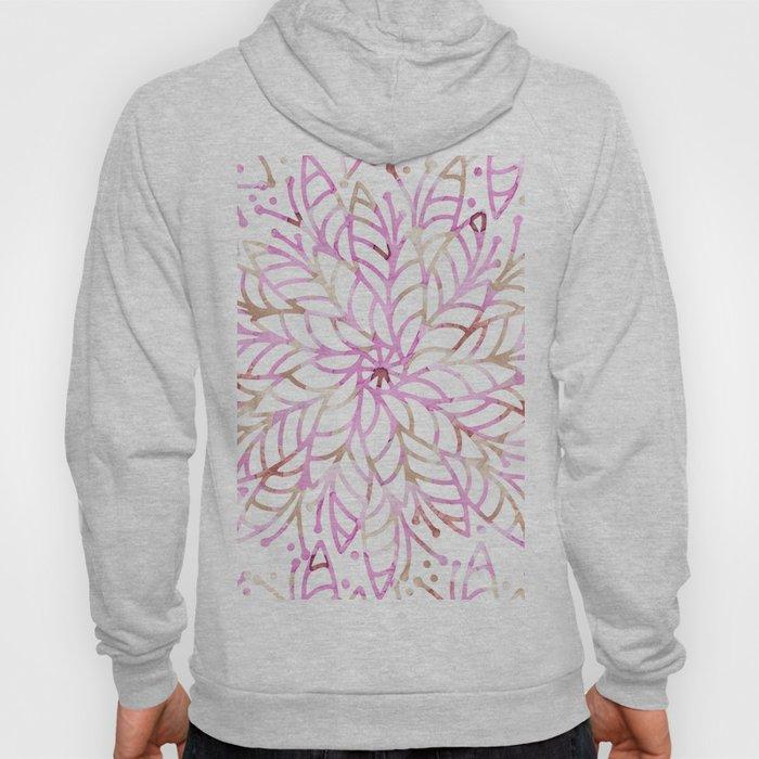 Girly blush pink brown watercolor floral mandala Hoody
