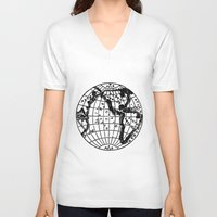 globe V-neck T-shirts featuring Globe by Gallymogger Print