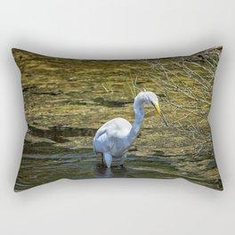 Great Egret Foraging in a Stream Rectangular Pillow