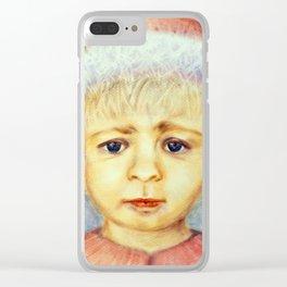 Santa's Elf, Elf, Boy, Christmas, Original, Oil Dry Brush, Holiday, Gift, Falk Clear iPhone Case