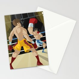 boxer performing an uppercut punch on opponent Stationery Cards